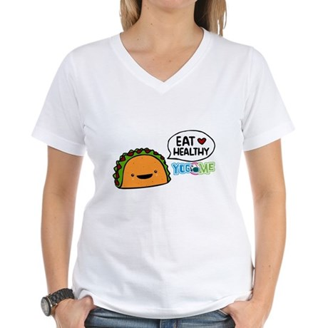 Eat healthy by yogome Women's V-Neck T-Shirt