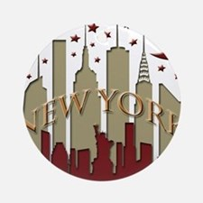 New York City Skyline hot Ornament (Round)