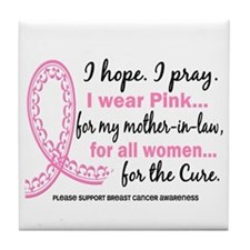 Hope Pray Wear Pink Breast Cancer Tile Coaster