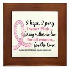 Hope Pray Wear Pink Breast Cancer Framed Tile
