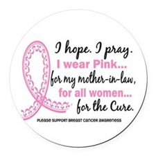 Hope Pray Wear Pink Breast Cancer Round Car Magnet
