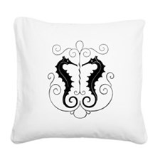Twin Seahorses Square Canvas Pillow