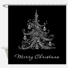 Black and White Christmas Tree Shower Curtain