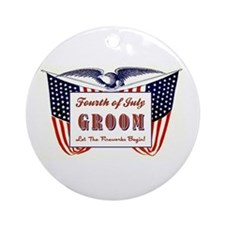 PATRIOTIC GROOM Ornament (Round)