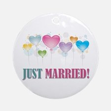 JUST MARRIED BALLOONS.jpg Ornament (Round)