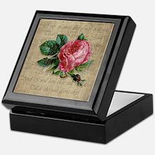 Vintage Love Like Red Rose Keepsake Box
