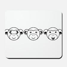 Three Unwise Monkeys (Euro, black) Mousepad