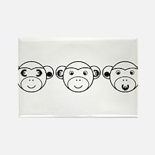 Three Unwise Monkeys (Euro, black) Rectangle Magne