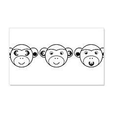 Three Unwise Monkeys (Euro, black) Wall Decal