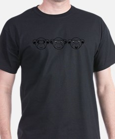 Three Unwise Monkeys (Euro, black) T-Shirt