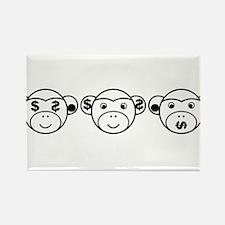 Three Unwise Monkeys (Dollar, black) Rectangle Mag