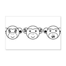 Three Unwise Monkeys (Dollar, black) Wall Decal