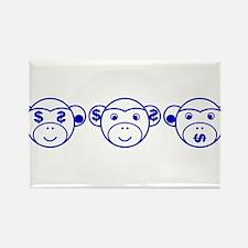 Three Unwise Monkeys (Dollar, blue) Rectangle Magn