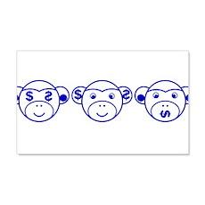 Three Unwise Monkeys (Dollar, blue) Wall Decal
