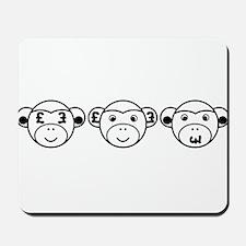 Three Unwise Monkeys (Pound, black) Mousepad