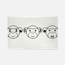 Three Unwise Monkeys (Pound, black) Rectangle Magn