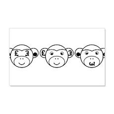 Three Unwise Monkeys (Pound, black) Wall Decal