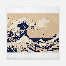 Pixel Tsunami Great Wave 8 Bit Art Queen Duvet