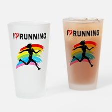 I LOVE RUNNING Drinking Glass