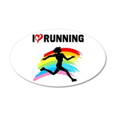 I LOVE RUNNING 35x21 Oval Wall Decal