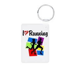 I LOVE RUNNING Aluminum Photo Keychain