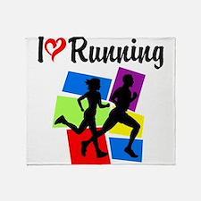 I LOVE RUNNING Throw Blanket