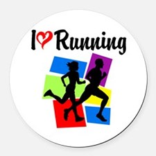 I LOVE RUNNING Round Car Magnet