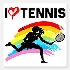 "I LOVE TENNIS Square Car Magnet 3"" x 3"""