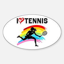 I LOVE TENNIS Sticker (Oval)