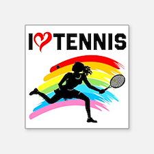 "I LOVE TENNIS Square Sticker 3"" x 3"""