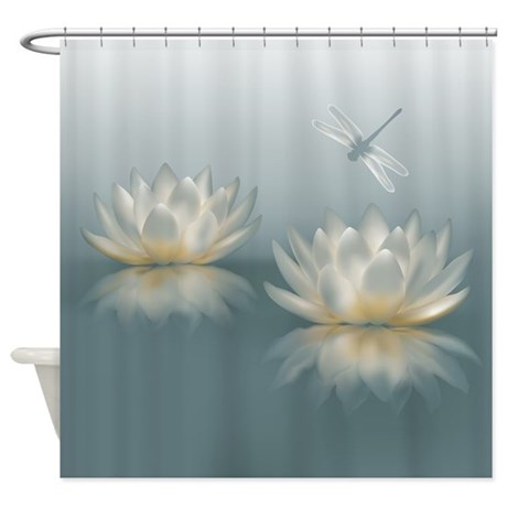 Http Www Cafepress Com Lotus And Dragonfly Shower Curtain 687031293