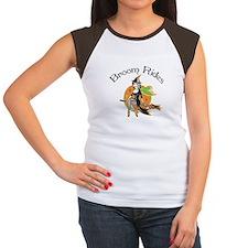 Broom rides Witch Halloween Dark T-Shirt Women's C