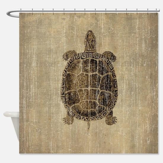 Vintage Turtle Shower Curtain