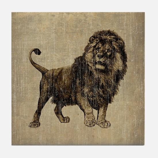 Vintage Lion Tile Coaster