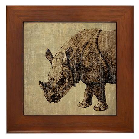 Vintage Rhinoceros Framed Tile