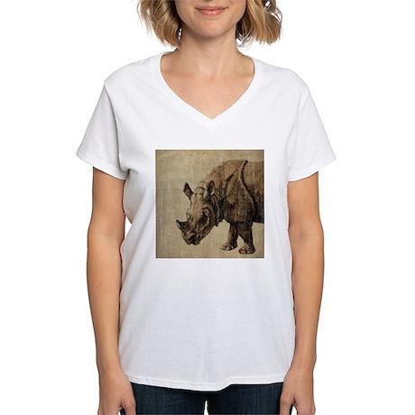 Vintage Rhinoceros Women's V-Neck T-Shirt