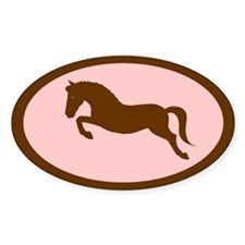 jumping pony (pink, brown) Oval Decal