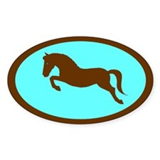 jumping pony (blue, brown) Oval Decal