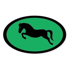 jumping pony (black, green) Oval Decal