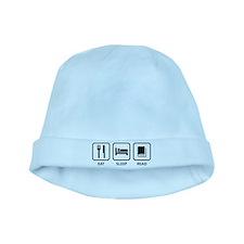 Eat Sleep Read baby hat