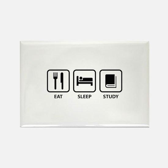 Eat Sleep Study Rectangle Magnet