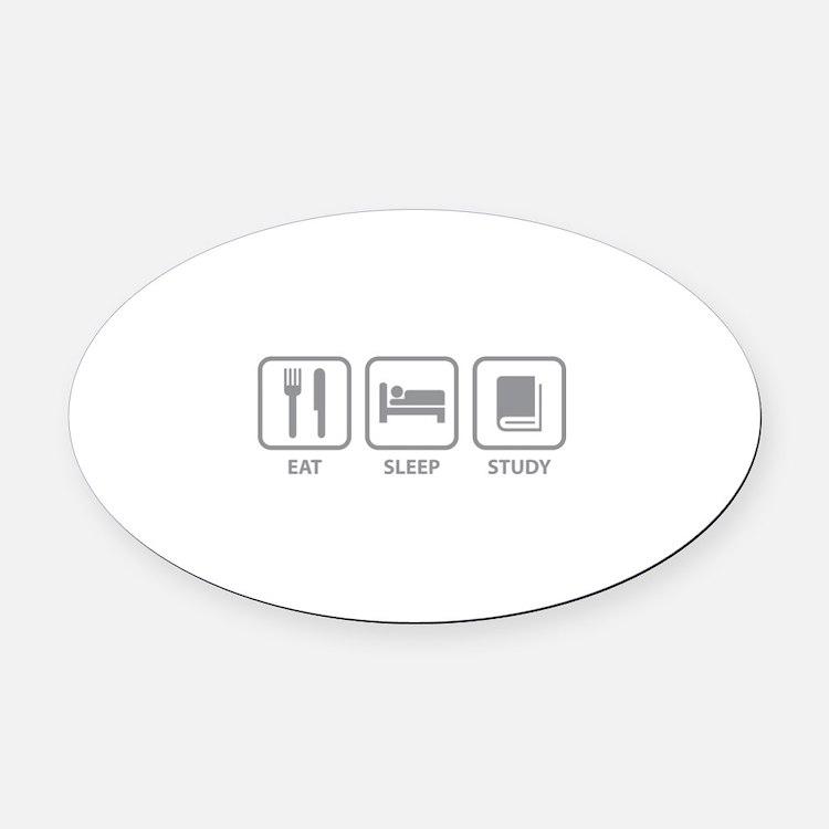 Eat Sleep Study Oval Car Magnet