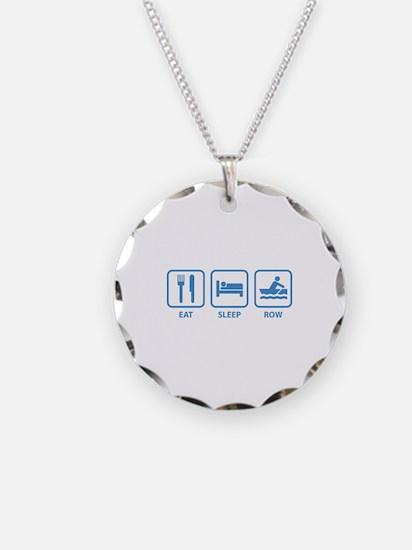 Eat Sleep Row Necklace Circle Charm
