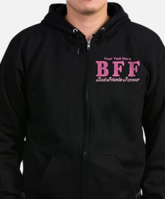 CUSTOM TEXT Best Friends Forever Zip Hoodie