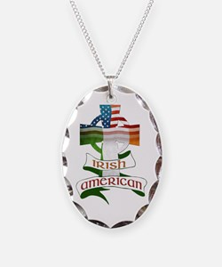 Irish American Celtic Cross Necklace Oval Charm