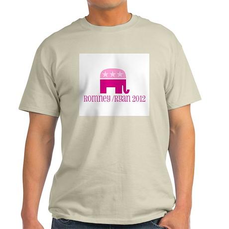 Pink Elephant Romney/Ryan 2012 Light T-Shirt