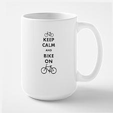 Keep Calm And Bike On Large Mug