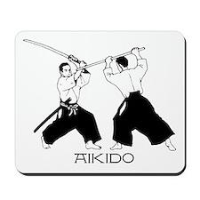 Aikido sword black w/text Mousepad