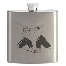 Aikido sword black w/text Flask