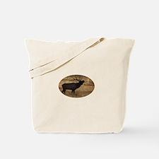 Bull elk bugling in silhouette Tote Bag